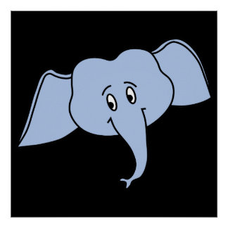 Cara azul do elefante. Desenhos animados Posters