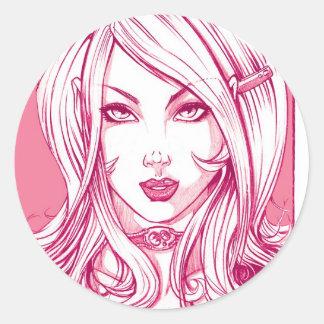 Cara bonito da menina - rosa adesivo redondo