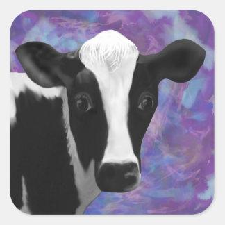 Cara bonito da vaca adesivo quadrado