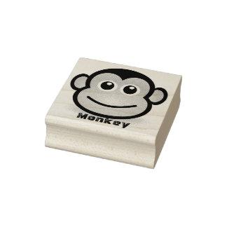 Cara bonito do macaco dos desenhos animados carimbo de borracha