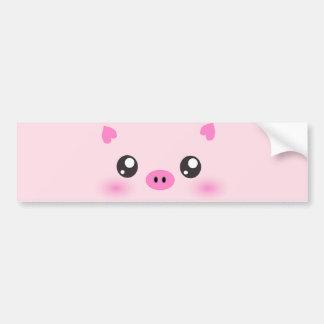 Cara bonito do porco - minimalismo do kawaii adesivo para carro