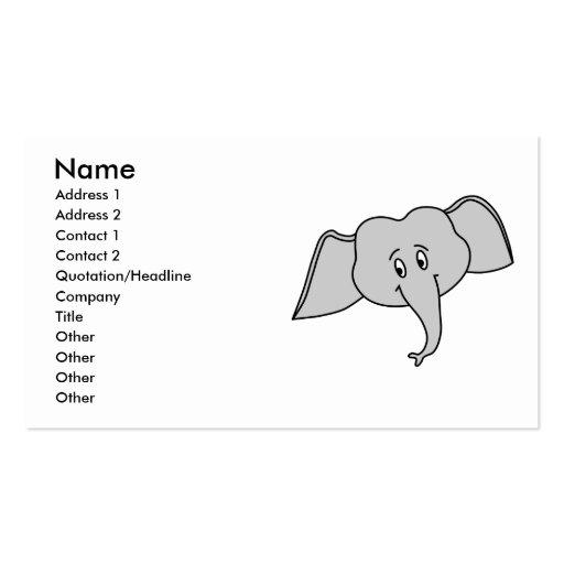 Cara cinzenta do elefante. Desenhos animados Cartões De Visita