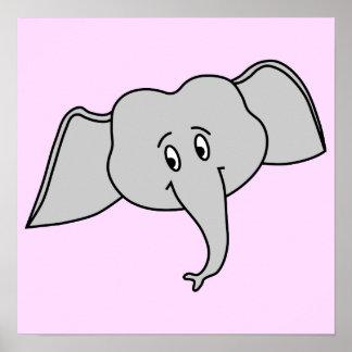 Cara cinzenta do elefante. Desenhos animados Poster