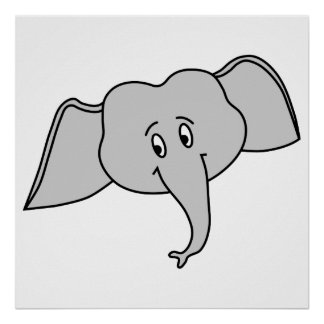 Cara cinzenta do elefante Desenhos animados Poster