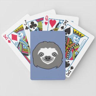 Cara da preguiça baralhos para pôquer