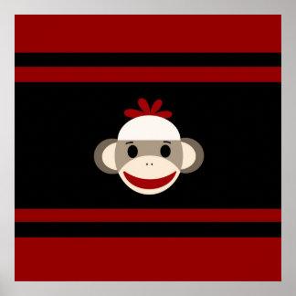 Cara de sorriso bonito do macaco da peúga no preto pôsteres