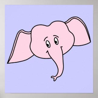 Cara do elefante cor-de-rosa Desenhos animados Poster