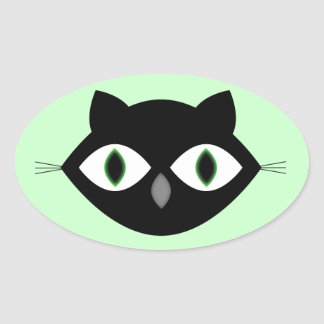 Cara do gato adesivos em formato oval