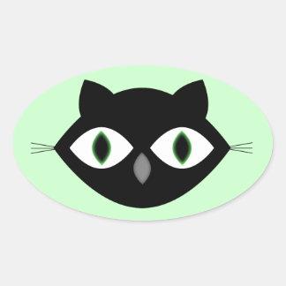Cara do gato adesivos em formato ovais