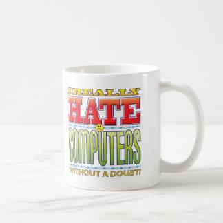 Cara do ódio dos computadores caneca de café
