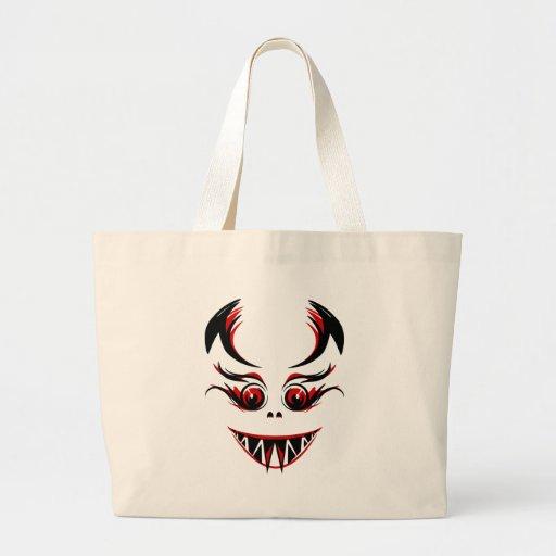 Cara do vampiro/monstro/demónio com presas afiadas bolsas para compras