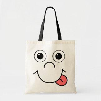 Cara dos desenhos animados bolsa de lona
