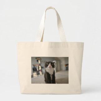Cara engraçada do gato sacola tote jumbo