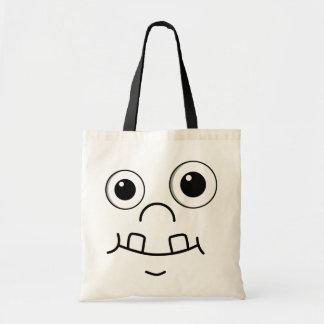 Cara engraçada dos desenhos animados bolsa para compra