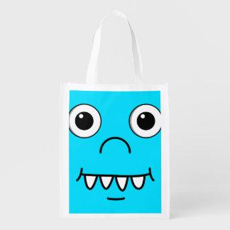 Cara engraçada dos desenhos animados sacolas ecológicas para supermercado