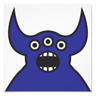 Cara estrangeira azul do monstro de Kawaii Impressão De Fotos
