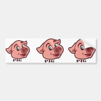 Cara feliz de sorriso do porco adesivo para carro