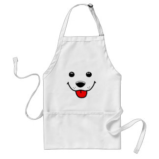Cara feliz do filhote de cachorro avental