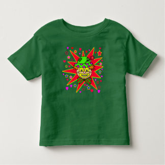 Cara feliz do palhaço com chapéu verde camiseta infantil