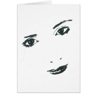Cara ilustrada forma do monochrome do cartão de