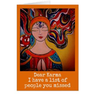 Cara Karma, boho da meditação do zen do cartão do