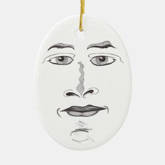 Cara macia ornamento de cerâmica oval