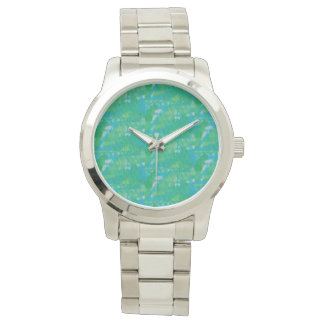Cara metálica de prata do verde azul do relógio