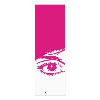 Cara retro das meninas no marcador da silhueta cartão de visita skinny
