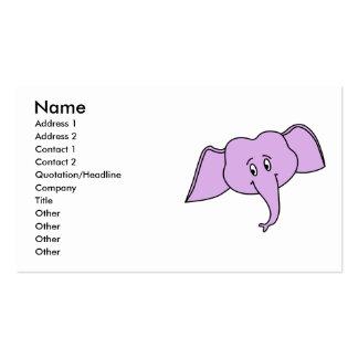 Cara roxa do elefante. Desenhos animados Modelo Cartao De Visita