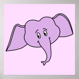 Cara roxa do elefante. Desenhos animados Poster