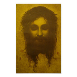 Cara santamente do véu do Jesus Cristo/Veronica Pôster