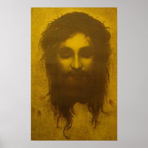 Cara santamente do véu do Jesus Cristo/Veronica Impressão