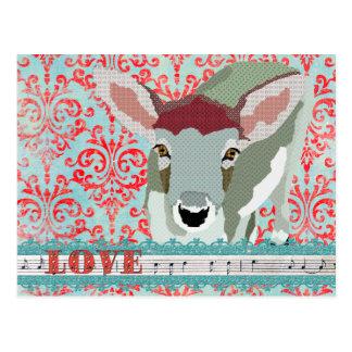 Cara vermelho dos cervos & cartão do damasco do am cartões postais