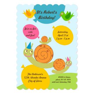Caracóis e convite de aniversário dos balões