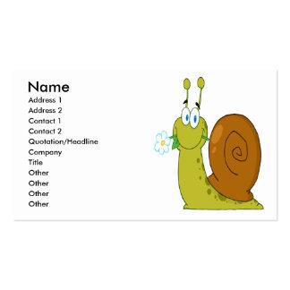 caracol feliz dos desenhos animados com flor cartão de visita