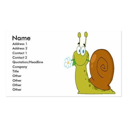 caracol feliz dos desenhos animados com flor cartões de visitas