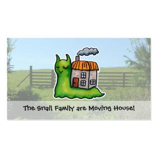 Caracol movente do anúncio da casa cartão de visita