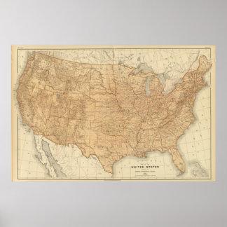 Características topográficas dos Estados Unidos Pôster