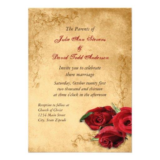 Caramelo Brown do vintage & casamento cor-de-rosa Convites Personalizado