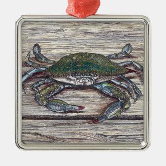 Caranguejo azul no ornamento do prêmio da doca