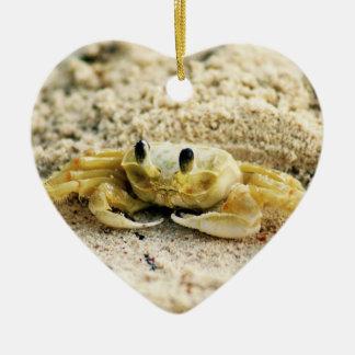 Caranguejo da areia, Curaçau, ilhas das Caraíbas, Ornamento De Cerâmica Coração