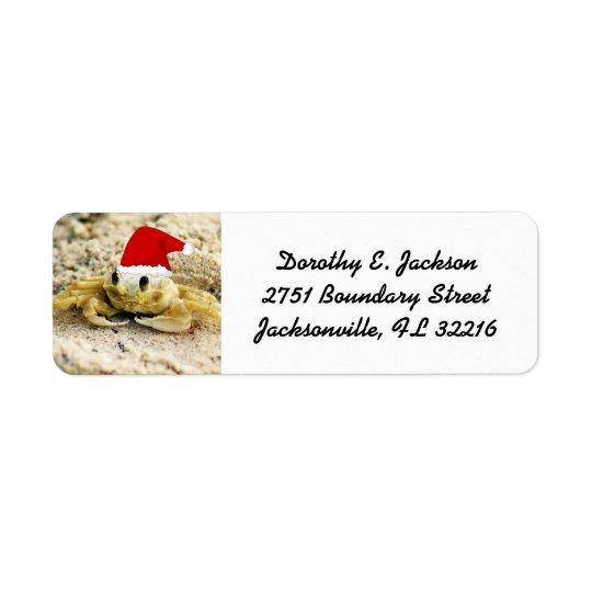 Caranguejo da areia no endereço do remetente do etiqueta endereço de retorno
