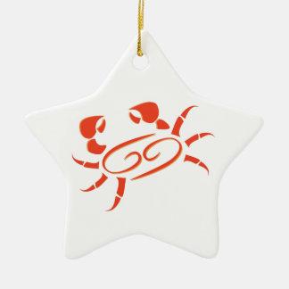 Caranguejo do símbolo do cancer ornamento de cerâmica estrela