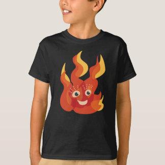 Caráter ardente feliz da chama do fogo camiseta