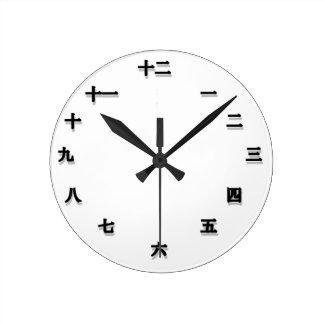 Caráter chinês Clockface Relógio Redondo
