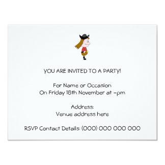Caráter de desenhos animados do pirata convite 10.79 x 13.97cm
