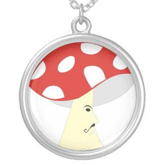 Caráter do cogumelo colar com pendente redondo