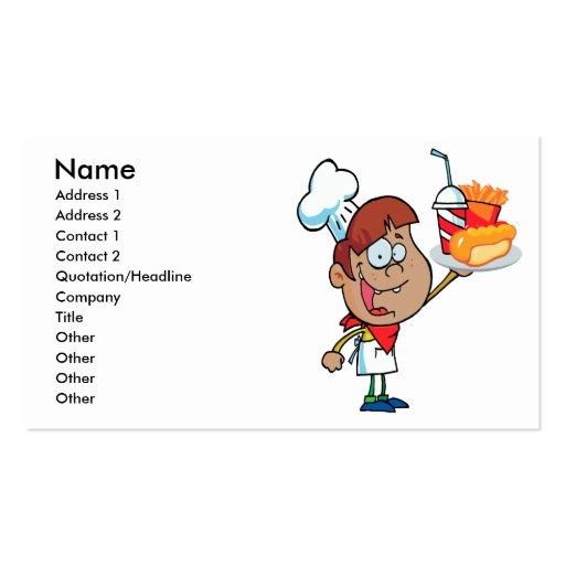caráter do garçom do fast food dos desenhos animad modelos cartões de visitas