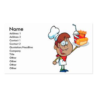 caráter do garçom do fast food dos desenhos cartão de visita