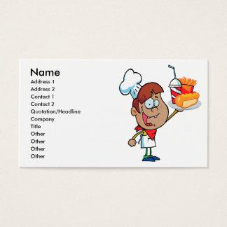 caráter do garçom do fast food dos desenhos cartão de visitas